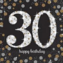 Happy Birthday 30. arany-ezüst  prizmás szalvéta 16db 33x33 cm