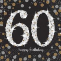 Happy Birthday 60. arany-ezüst  prizmás szalvéta 16db 33x33 cm