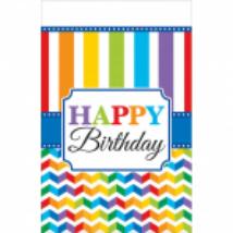 Happy Birthday csíkos műanyag asztalterítő