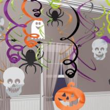 Spirálos függő dekoráció tök-pók-koponya 30db/cs