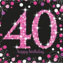 Happy Birthday 40. pink prizmás szalvéta 16db/csomag 33x33 cm