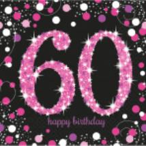 Happy Birthday 60. pink prizmás szalvéta 16db/csomag 33x33 cm
