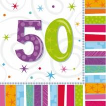Szalvéta 50. születésnapra 33 x 33 cm kétrétegű 16 db/cs