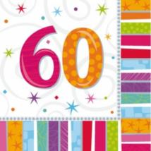 Szalvéta 60. születésnapra 33 x 33 cm kétrétegű 16 db/cs