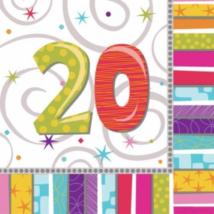 Szalvéta 20. születésnapra 33 x 33 cm kétrétegű 16 db/cs