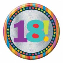 Hologramos Happy Birthday kitűző 18. születésnapra 150mm