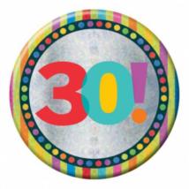 Hologramos Happy Birthday kitűző 30. születésnapra 150mm