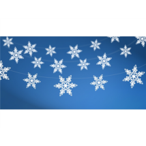 Metál fehér hópehely girland 1,38 m