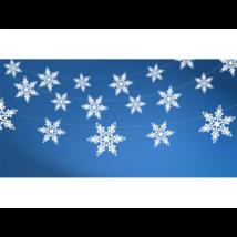 Metál fehér hópehely girland 1,55 m