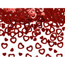 Metál piros szív formájú konfetti 15 g