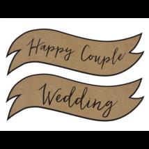 Happy Couple, Weddding esüvői felirat papírból 55 x 19 cm 2 db/cs