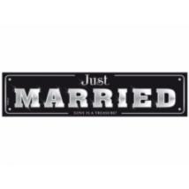 Fekete-fehér Just married rendszámtábla 50 x 11,5 cm