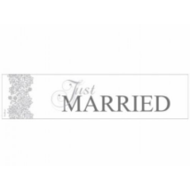 Ezüst-fehér Just married rendszámtábla 50 x 11,5 cm