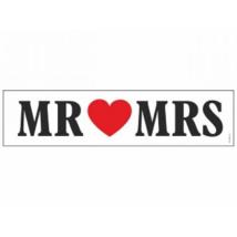 Rendszámtábla MR&MRS 50 x 11,5 cm fekete-fehér
