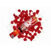Fehér szív és piros rózsaszirom konfetti ágyú 40 cm