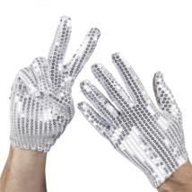 Glitteres rövid ezüst kesztyű