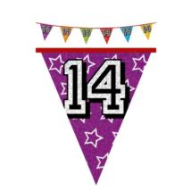 Hologramos zászló 14. születésnapra, 8 m 16 zászlóval