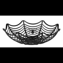 Halloween kínáló kosár, pókhálós, műanyag, 27 cm