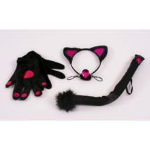 Négyrészes macska szett kesztyűvel, hajpánttal, farokkal és orral