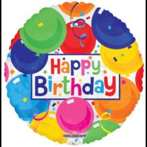 45 cm-es Happy Birthday lufis átlátszó fólia lufi