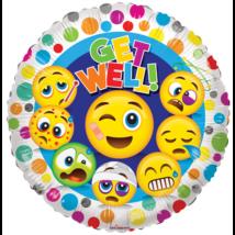 45 cm-es Smiley Get well soon fólia lufi