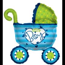 90 cm-es Baby Boy kék babakocsi fólia lufi
