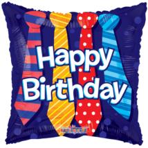 45 cm-es Happy Birthday nyakkendős  fólia lufi