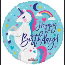 45 cm-es Happy Birthday unikornis fólia lufi