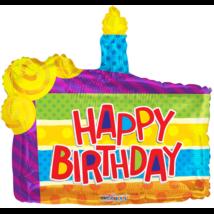 90 cm-es Happy Birthday tortaszelet alakú fólia lufi