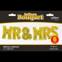 86 cm-es Mr& MRS felirat arany színű betű fólia lufi csomag