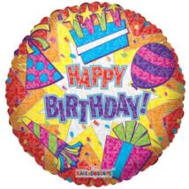 90 cm-es Happy Birthday Party fólia lufi