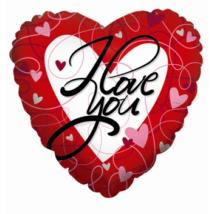 90 cm-es I love you feketével szív alakú fólia lufi