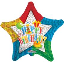 75 cm-es Happy Birthday prizmás csillag alakú fólia lufi