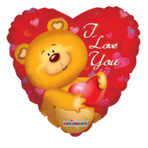 45 cm-es I Love you maci  piros szív fóli lufi