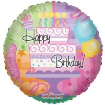 45 cm-es Happy Birthday tortás fólia lufi