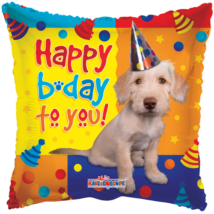 45 cm-es Happy Birthday kutyás fólia lufi