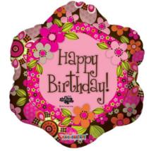 45 cm-es Happy Birthday színes virágos fólia lufi