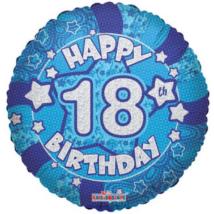 45 cm-es Happy Birthday 18 kék hologramos fólia lufi