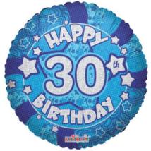 45 cm-es Happy Birthday 30 kék hologramos fólia lufi