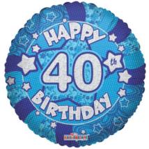 45 cm-es Happy Birthday 40 kék hologramos fólia lufi