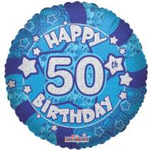 45 cm-es Happy Birthday 50 kék hologramos fólia lufi