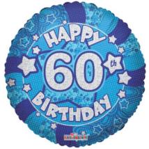 45 cm-es Happy Birthday 60 kék hologramos fólia lufi
