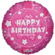 45 cm-es Happy Birthday pink hologramos fólia lufi