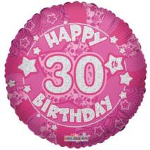 45 cm-es Happy Birthday 30 pink hologramos fólia lufi