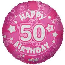 45 cm-es Happy Birthday 50 pink hologramos fólia lufi