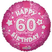 45 cm-es Happy Birthday 60 pink hologramos fólia lufi