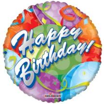 45 cm-es Happy Birthday Lufis-szerpentines fólia lufi