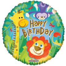 45 cm-es Happy Birthday dzsungel állatos fólia lufi