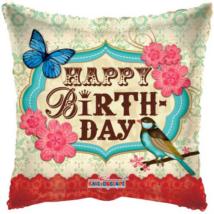 45 cm-es Happy Birthday pillangós madaras fólia lufi