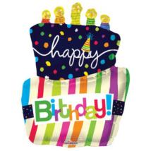 90 cm-es Happy Birthday torta gyertyával fólia lufi